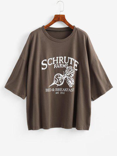 Boyish Letter Graphic Oversized Drop Shoulder Tunic Tee - Deep Coffee M