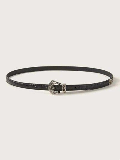 Retro Hollow Out Buckle Belt - Black