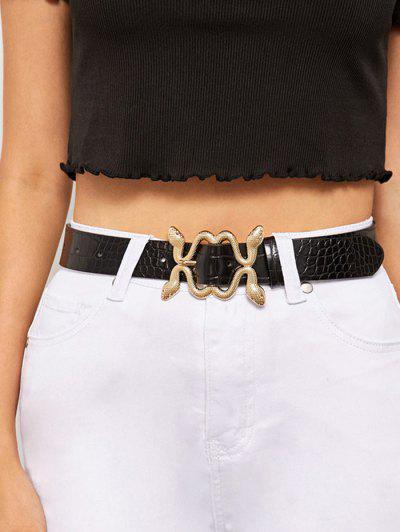 Snake Shaped Pin Buckle Belt - Black