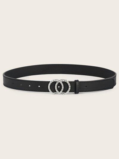 Double Circle Rhinestone Buckle Belt - Black