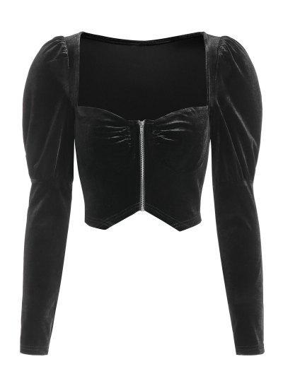 ZAFUL Zip Up Velvet Gigot Sleeve Cropped Blouse - Black S