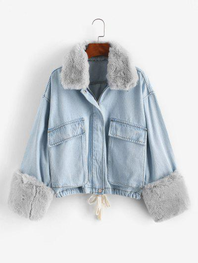 Removable Faux Fur Panel Pocket Drawstring Jean Jacket - Light Blue S