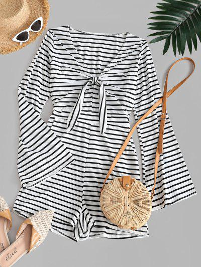 Stripes Flare Sleeve Tie Front Romper - White M