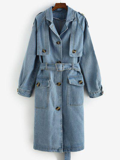 Longline Belted Pockets Denim Trench Coat - Denim Blue S