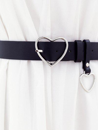 Heart Shaped Pin Buckle Belt - Black