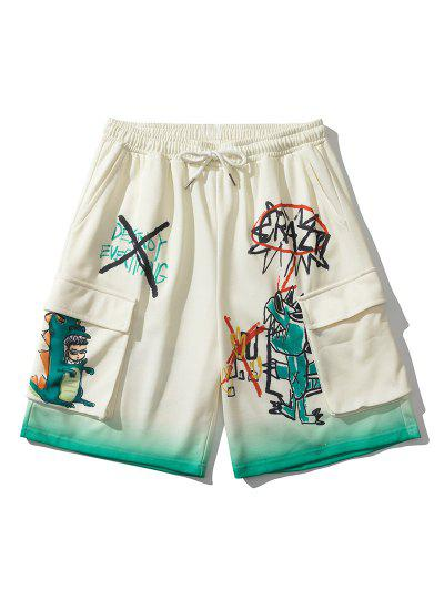 Ombre Cartoon Dinosaur Pattern Sweatshorts - Warm White 2xl
