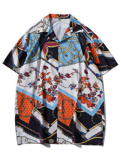 Floral Chain Patchwork Baroque Shirt - Cobalt Blue M