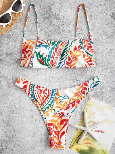 ZAFUL Ribbed Leaf Print Cami Bikini Swimwear - Dark Orange S