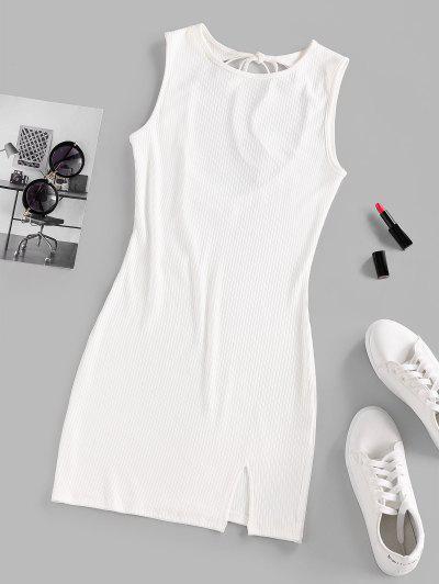 ZAFUL Ribbed Tie Open Back Slit Dress - White S