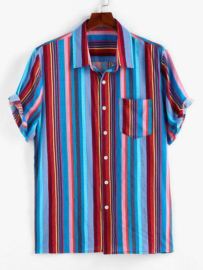 ZAFUL Colorful Stripe Short Sleeve Shirt - Multi S