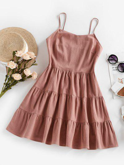 ZAFUL Tiered Smocked Flounce Cami Dress - Light Pink M