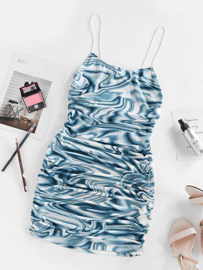 ZAFUL Cut Out Back Twist Liquid Marble Print Dress - Blue M