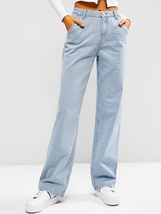 Calças Jeans Apertadas de Lavagem Leve - Azul claro XL