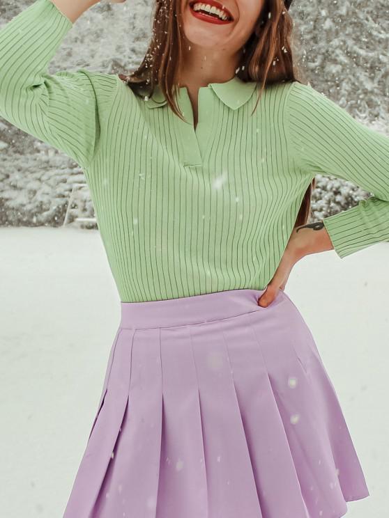 buy ZAFUL Basic Ribbed Pullover Knitwear - LIGHT GREEN S