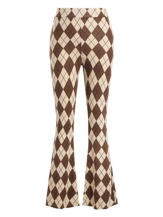 trendy Argyle Jersey Boot Cut Pants - LIGHT COFFEE S