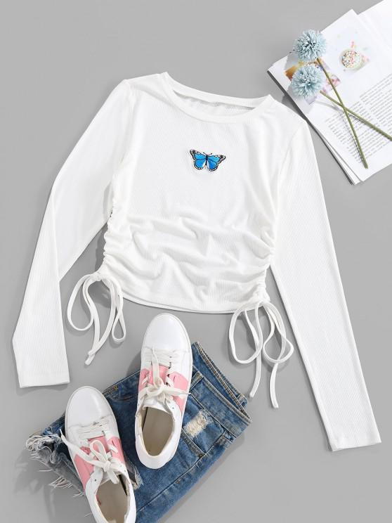 new ZAFUL Butterfly Applique Ribbed Cinched T-shirt - WHITE L