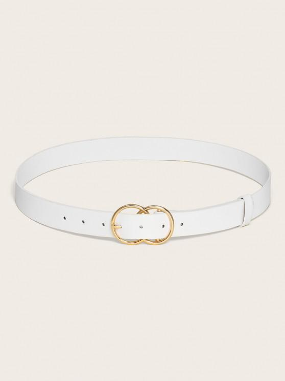 new Circular Pin Buckle Solid Belt - WHITE