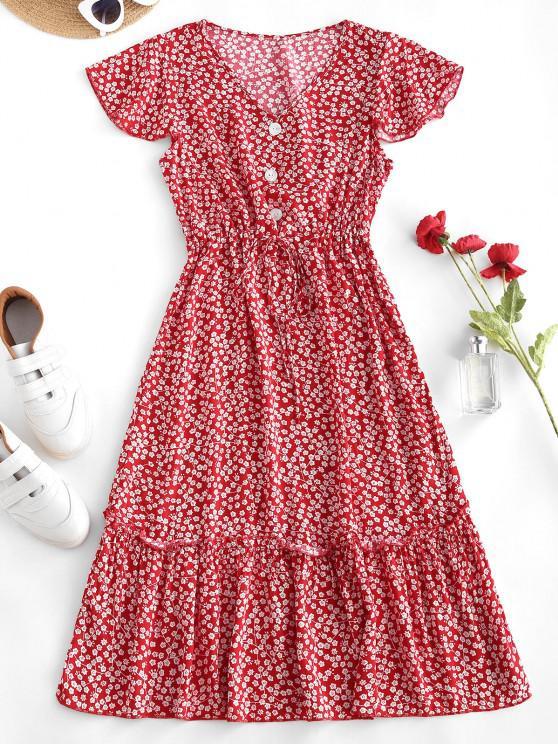 new Ditsy Print Waist Drawstring Frilled Midi Dress - RED S