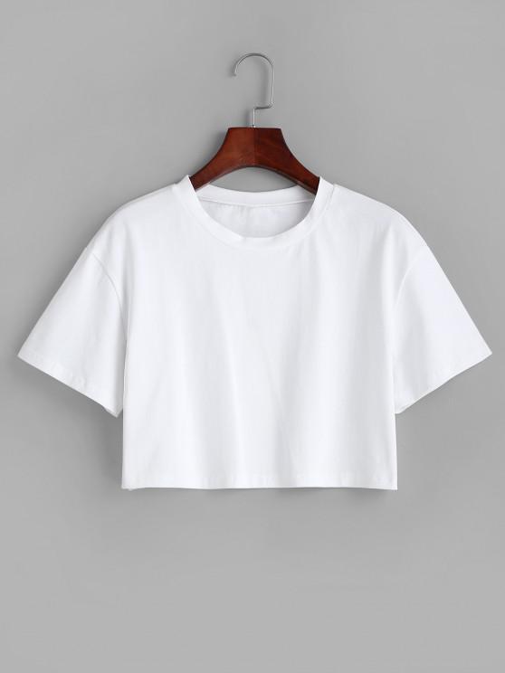 Plain Boxy Crop Tee - أبيض L
