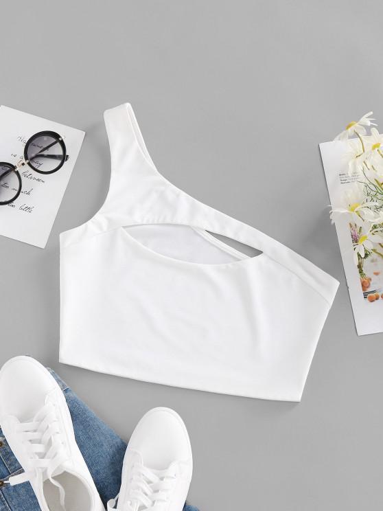 fashion ZAFUL One Shoulder Cutout Crop Tank Top - WHITE M