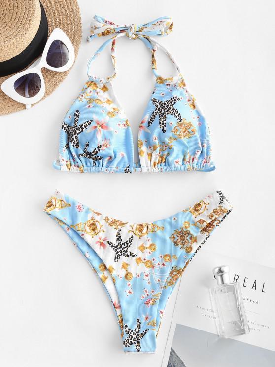 ZAFUL Ribbed Flower Starfish Leopard Print Dual Strap Bikini Swimwear - أزرق فاتح S