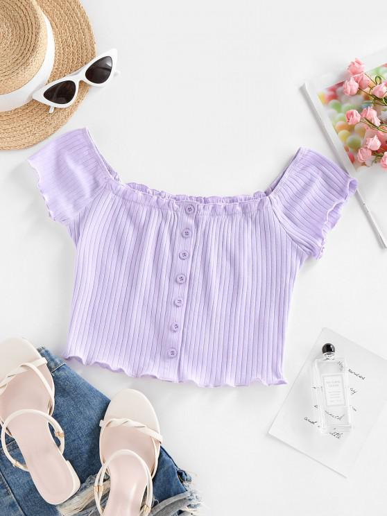 shop ZAFUL Ribbed Lettuce Frilled Crop Baby Tee - LIGHT PURPLE M