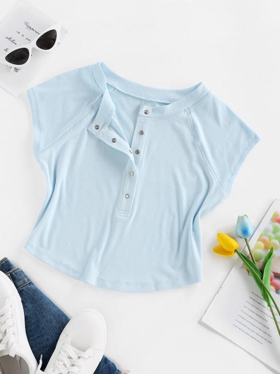 ZAFUL Camiseta de Bebé de Henley con Botón a Presión - Azul claro S
