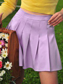 ZAFUL High Waist Pleated Mini Skirt - Mauve S