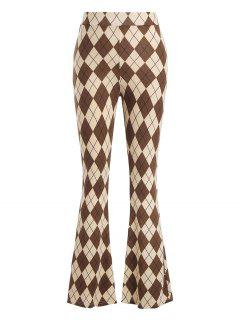 Argyle Jersey Boot Cut Pants - Light Coffee M