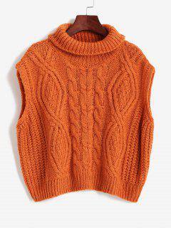 Turtleneck Cable Knit Chunky Sweater Vest - Chocolate