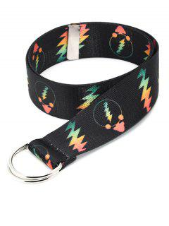 Canvas Printed Lightning Double Ring Belt - Black