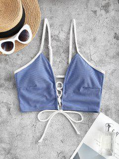 ZAFUL Ribbed Lace Up Contrast Binding Swim Top - Light Blue L