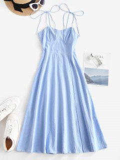 Tie Shoulder Shirred Back Split Hem Bustier Dress - Light Blue M