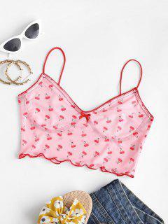 Cherry Print Lettuce Trim Mesh Bustier Camisole - Light Pink S