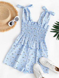 Gingham Floral Tie Shoulder Smocked Peplum Romper - Light Blue Xs