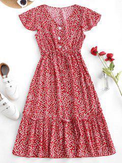 Robe Mi-Longue Fleurie Imprimée Taille à Cordon à Volants - Rouge Xl