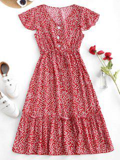 Ditsy Print Waist Drawstring Frilled Midi Dress - Red S