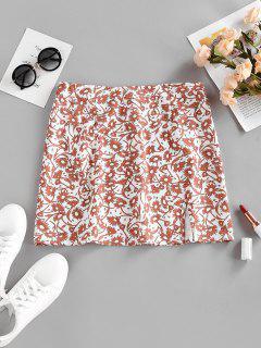 Front Slit Floral Print Mini Skirt - White M