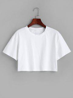 Einfaches Boxy Crop T-Shirt - Weiß S