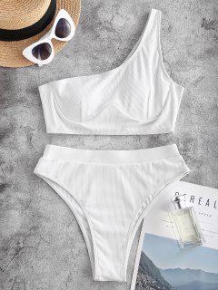 ZAFUL Ribbed One Shoulder Underwire High Leg Tankini Swimwear - White L
