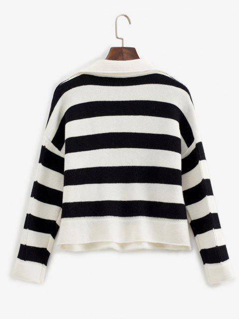 chic Drop Shoulder Pointelle Knit Contrast Stripes Sweater - WHITE ONE SIZE Mobile