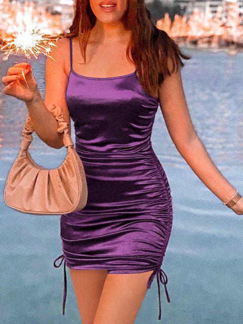 buy Tie Shoulder Cinched Bodycon Dress - PURPLE L Mobile