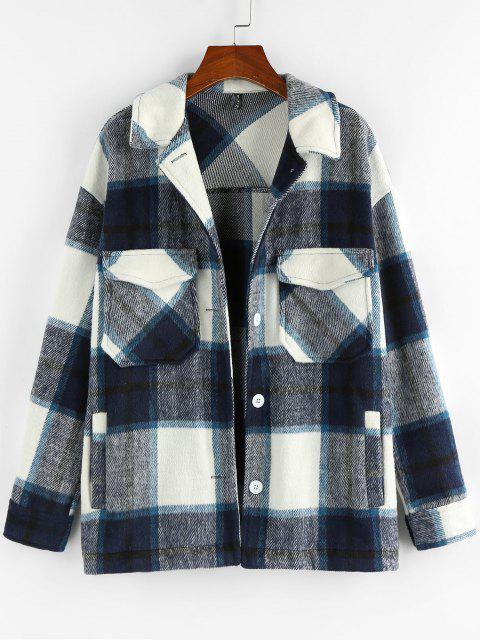 ZAFUL Plaid Pockets Coat - منتصف الليل الأزرق M Mobile