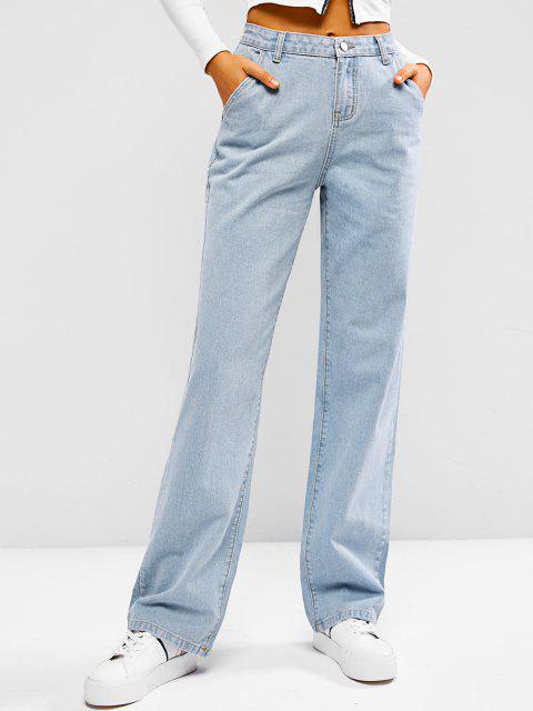 outfits Light Wash Baggy Boyfriend Jeans - LIGHT BLUE S Mobile