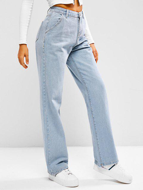 womens Light Wash Baggy Boyfriend Jeans - LIGHT BLUE M Mobile