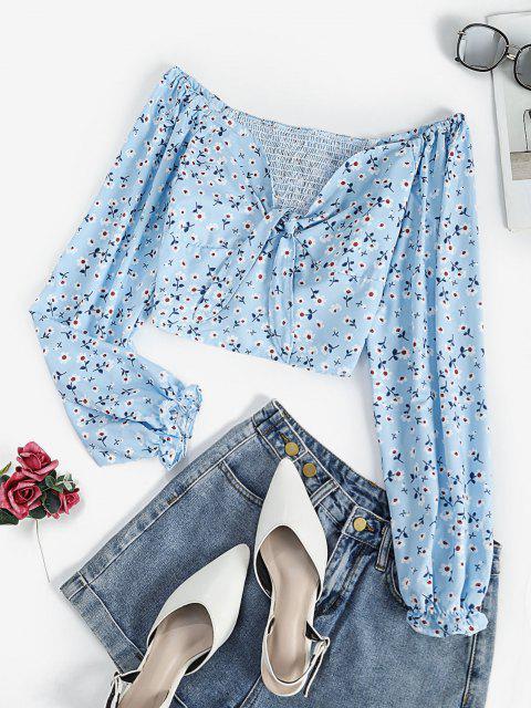 hot Ditsy Floral Smocked Back Poet Sleeve Blouse - LIGHT BLUE L Mobile