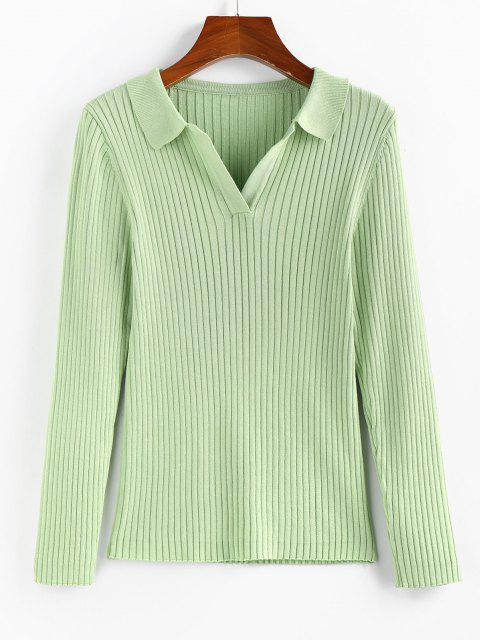 buy ZAFUL Basic Ribbed Pullover Knitwear - LIGHT GREEN S Mobile