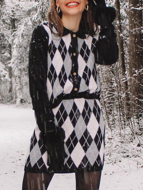 fashion Button Up Two Piece Argyle Cardigan Set - BLACK ONE SIZE Mobile