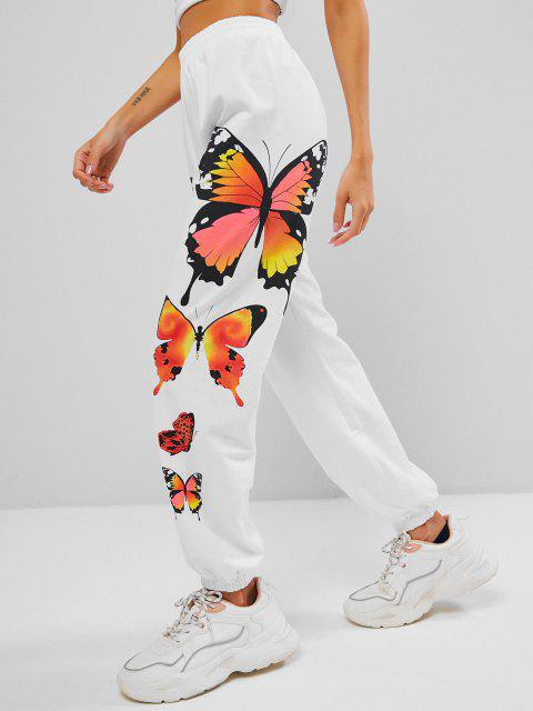 latest High Waisted Butterfly Graphic Jogger Pull-on Sweatpants - WHITE L Mobile