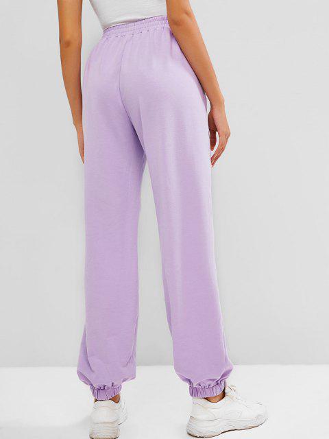 chic ZAFUL Pocket High Waisted Butterfly Print Sweatpants - LIGHT PURPLE XL Mobile